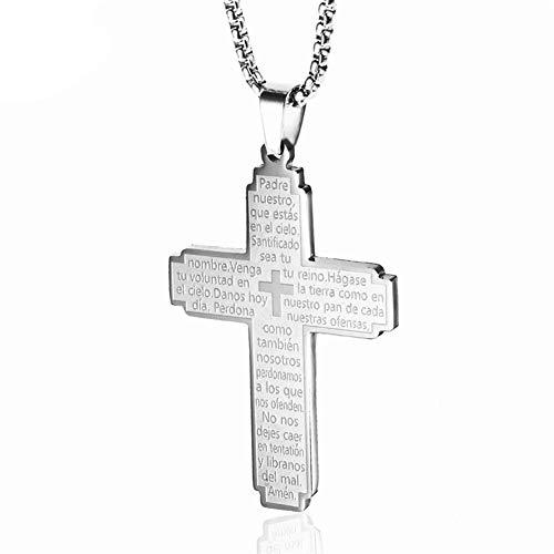ZHWJH Titan Stahl Kreuz Halskette Bibel Vers Edelstahl Jesus katholischen Gebet Kruzifix Anhänger Schmuck Paare Valentinstag Geburtstagsgeschenk