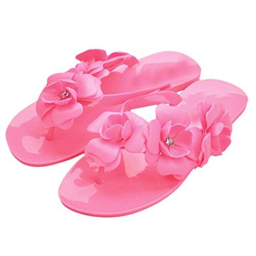 Uomogo® sandali da donna,bohemia heel piatto infradito scarpe da spiaggia pantofole femminili (cn:41, viola)
