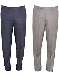 IndiWeaves Rayon Regular Fit Formal Trouser For Mens(Pack Of 2)_Navy Blue::Gray_Size-32