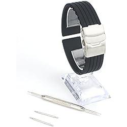Silikon Uhrenarmband 20mm Schwarz Forepin® Silikonkautschuk Watch Strap Wasserdicht Uhrband Faltschließe mit Frei Werkzeug