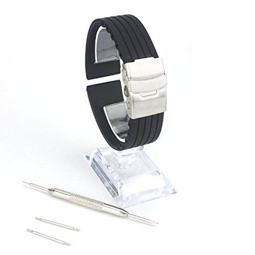 forepin Silikon Uhrenarmband 18mm Schwarz reg; Silikonkautschuk Watch Strap Wasserdicht Uhrband Faltschließe mit Frei Werkzeug