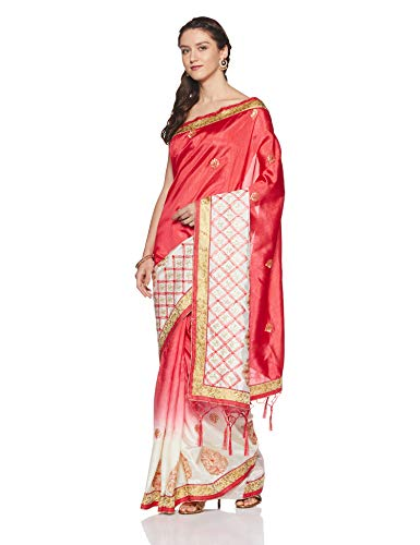 Aalia Art Silk Saree With Blouse Piece (11008!_Pink, Cream!_One size)