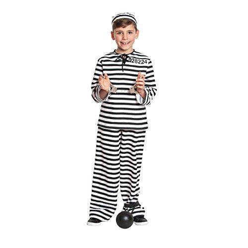 �fling-Kostüm Kinder + extra Handschellen Sträflings-kostüm Gefängnis Knast Jungen Größe 164 ()