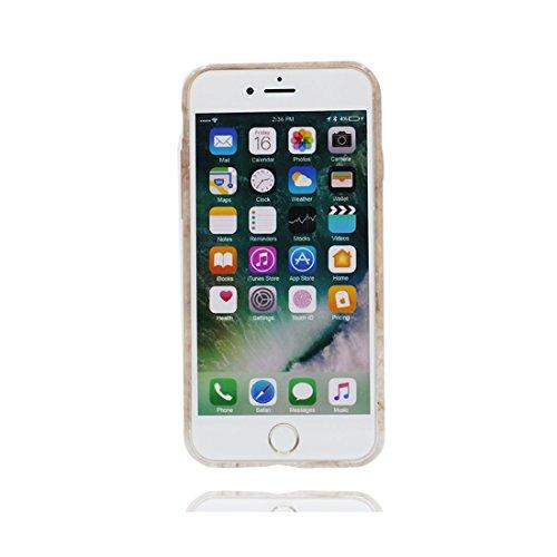[ Marble bianca + blu Srtipe ] iPhone 7 Plus Marble Custodia, Cover [Stone Texture Collection] Stampa in marmo TPU Soft Custodia per iPhone 7 Plus (5.5) Case anti-shock anti-graffi Color 5