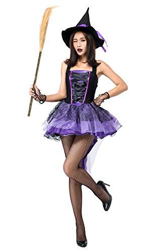 Lila Kostüm Hexe Sexy - Jerho Sexy lila Hexe Cosplay Schwalbenschwanz Kleid Halloween Anime Kostüm Outfit Anzug