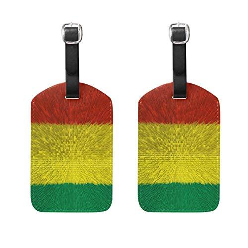 89tAGS5629 Kofferanhänger mit Bolivia-Flagge, 2 Packungen aus PU-Leder