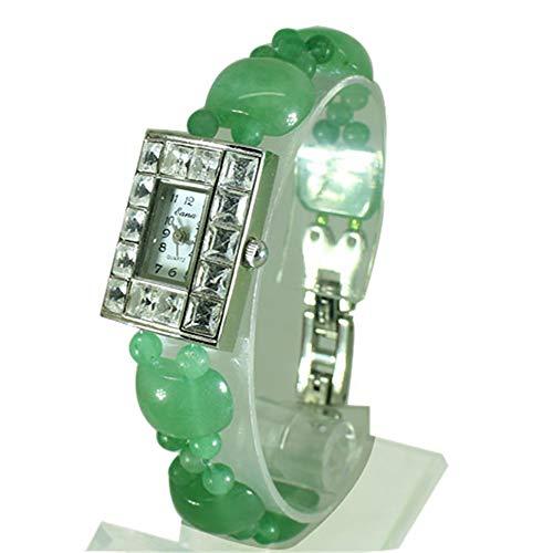 nstein-Stall-Armband-Uhr, Damen-Kristall-Uhr Damen Edelstein-Perlen Uhren für den Weihnachtsgeburtstag Valentinstag Halloween Neujahrsgeschenk,Green ()