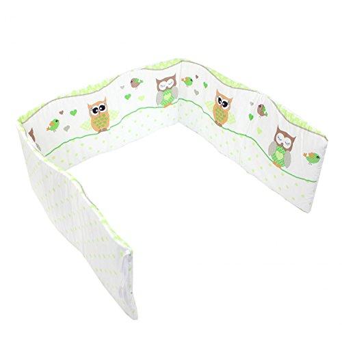 TupTam Babybett Kopfumrandung Kopfschutz Nestchen Kurz, Farbe: Eulen Grün, Größe: 180x30cm (für Babybett 120x60)