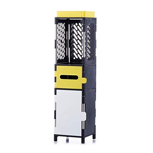 WJSW 3/4 Tier Storage Cabinet Bücherregal Lagerregal Bad Regal, Montage Regal für die Organisation der Küche Bad Schlafzimmer oder Büro, Gelb, 3Tier -
