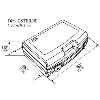 Kunststoffkoffer leer in schwarz, Außenmaß: 320x280x119 mm - 2