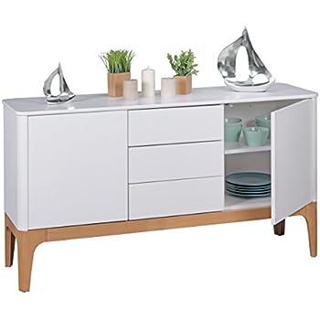 FineBuy Kommode Weiß mit 3 Schubladen | Design Sideboard