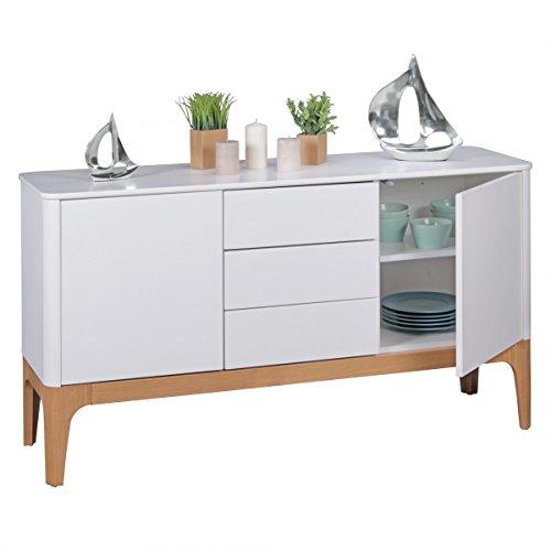 FineBuy Kommode Weiß mit 3 Schubladen | Design Sideboard MDF Retro 150 x 45 x 85 cm mit 2 Türen | Dielen Schlafzimmerkommode Flurmöbel Skandinavisch | Anrichte 50er & 60er Jahre - Wohnzimmermöbel
