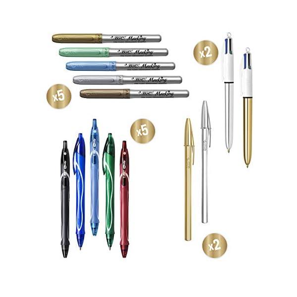 BIC My Surprise Box – Estuche de Regalo con 14 Instrumentos de Escritura, 4 bolígrafos /5 rotuladores Metalizados /5 bolígrafos de Gel /1 Bloc de Notas Adhesivas y 1 Libreta A5 (Blanca)