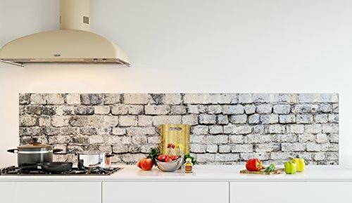 """Crédence de cuisine en Panneau composite aluminium ou fond de hotte de cuisine prêt à poser avec adhésif double face - L. 220 x H. 50 cm - Epaisseur 3 mm """"Vieux mur de pierre"""" - [Impression Murale®]"""