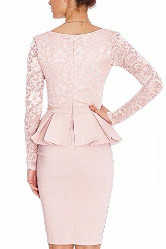 YACUN Women's Long Sleeve V-Neck Peplum Bodycon Lace Dress Pink 14-16