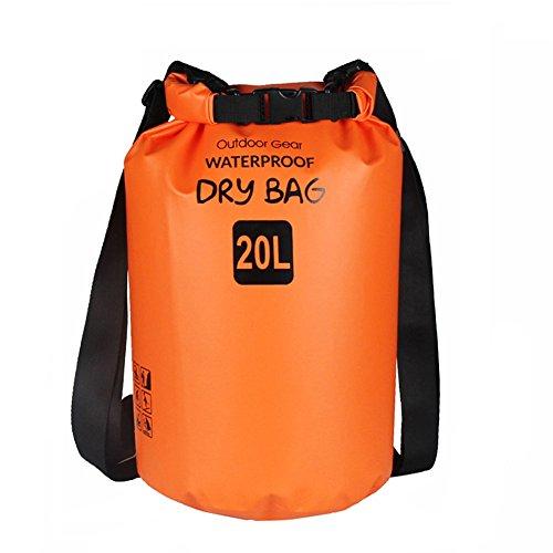 ZhaoCo Borsa Impermeabile, 5L/10L/20L/30L Dry Bag con Tracolla Regolabile Perfetto Per Kajak, Canoa, Vela, Pesca, Nuoto, Spiaggia, Barca, Campeggio, Attività all'Aperto e Sport d'Acqua (Arancia,20L)