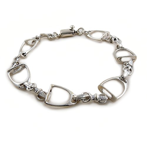 pferd-steigbugel-und-sattel-schnalle-925-sterling-silber-armband-22-cm