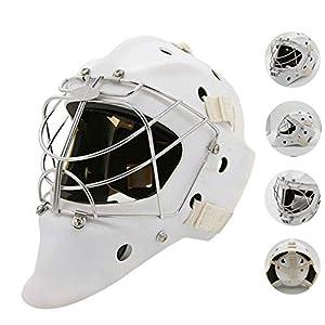 WHCCL Hockey-Helm, Eishockey-Maskenkäfig Starke Schlagfestigkeit Gesichtsmaske, Schutzausrüstung Explosionsgeschützter Torwart-Schutzhelm Steel Combo,M