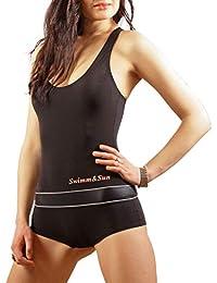 d245e1477152f1 Fashinary Damen Einteiliges Badeanzug Boyleg Schwimmen Mit Bein Shorts  SK0042