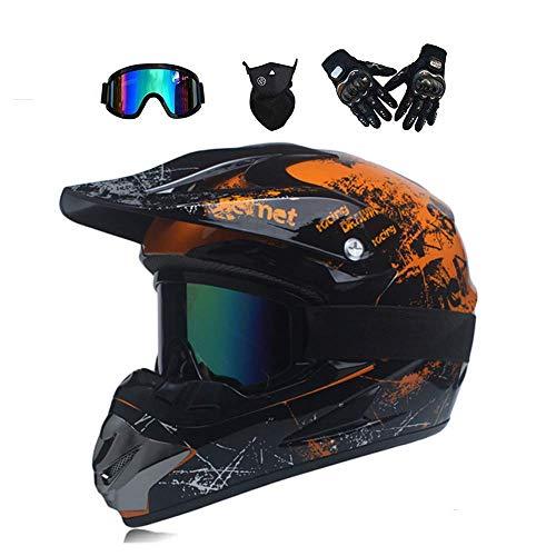 LJ-GJ Outdoor Radfahrer Kostüm- Erwachsenen Motocross Helm MX Motorrad Helm ATV Scooter Helm D.O.T Certified Goggles Gloves Mask -