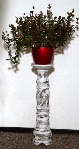 floristikvergleich.de Blumensäule Holz Blumenständer Mediterraner Stil Blumentisch BLST02