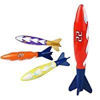 Nuheby Diving Toys Swimming Pool Sticks Dive Sticks Bath Water Toys Beach Game Diving Rocket Shape Under Water Game for Kids Boys Girls 6 7 8 Year Old, 4Pcs