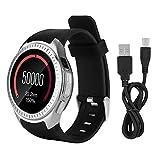 Naroote Smart Sport Watch, Microwear Bluetooth Musik Smart Watch TF Card Music Play Pulsmesser(Schwarz und Silber)