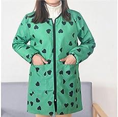 Yyanliii Spaß Langarm-Liebe Gedruckt wasserdicht Öl-Beweis Zipper Schürze mit Doppelten Taschen für Frau (grün)