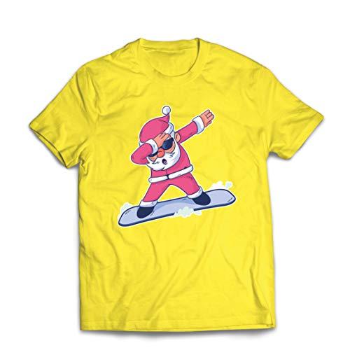 lepni.me Männer T-Shirt Weihnachten Dab, Dabbing Weihnachtsmann, Weihnachtsfeiertags-Shirt (Medium Gelb Mehrfarben)