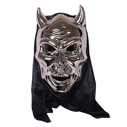 Themen Kostüm Silber - TIREOW Halloween Maske, Kuh Viehzauber Horror Masken für Cosplay Bar Performance Thema Party Kostüm Karneval (Silber)