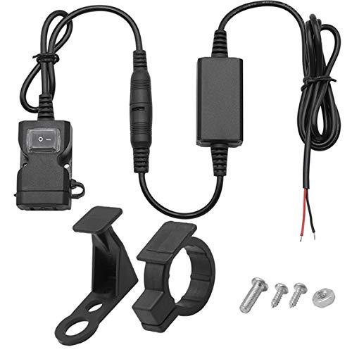 Vosarea USB Caricabatterie da Moto Manubrio Retrovisore impermeabile doppio porte 3.1 A Adattatore di presa di ricarica rapida con interruttore per scooter di moto Triciclo e altri veico