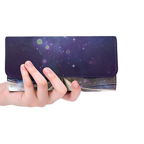 Einzigartige Custom Verliebt in eine Hexe Buchmagie leuchtet Dunkelheit Frauen Trifold Wallet Lange Geldbörse Kreditkarteninhaber Fall Handtasche