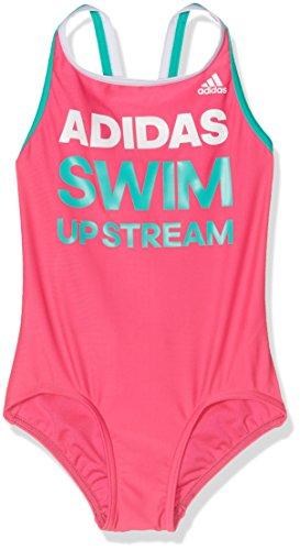 adidas Mädchen Slogan Badeanzug, Pink/White/Shock Mint, 128