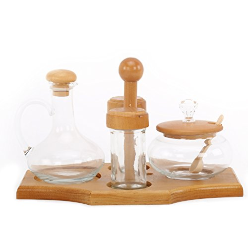 @home by Nilkamal Condiment Set - 4 Glass Jars with Stand  available at amazon for Rs.587