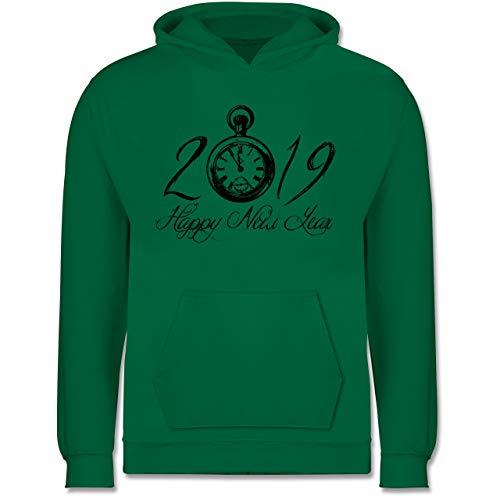 Shirtracer Weihnachten Kind - Happy New Year 2019 Uhr Vintage - 9/11 Jahre (140) - Grün - JH001K - Kinder Hoodie