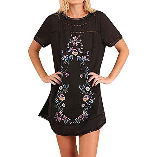 FRAUIT Damen Kurzarm Tunika Kleid Sommerkleid Bohemian T-Shirt Kleid Stickerei Floral Tunika Shirt Bluse Flowy Minikleid Baumwolle und Leinen Atmungsaktiv Weich Bequem -