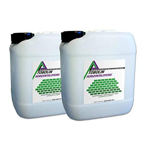 Nachfüllkanister (2 x 5 L) für Tobolin Horizontalsperre Injektionsflaschen - Verkieselungsmittel zur Mauerwerkstrockenlegung und Wasserschadensanierung - Hocheffektiv gegen aufsteigende Feuchtigkeit