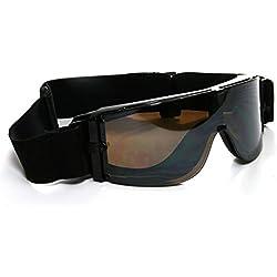 Motorradbrille schwarz, smoke-getönte Gläser, schwarzer Rahmen,