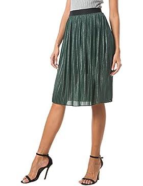 Urban GoCo Mujer Retro Midi Faldas Corta de Brillante Plisada Falda para Oficina Fiesta