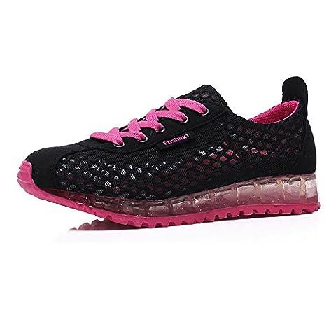 Femmes Chaussures De Course Sports Lacets Mesh Respirante Fitness Gym Running Baskets Noir 39 EU