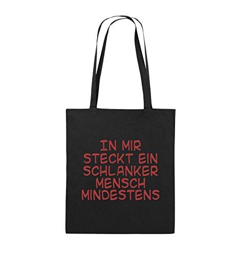 Comedy Bags - In mir steckt ein schlanker Mensch mindestens - Jutebeutel - lange Henkel - 38x42cm - Farbe: Schwarz / Pink Schwarz / Rot