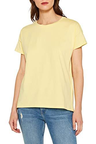 edc by ESPRIT Damen 049Cc1K047 T-Shirt, Gelb (Light Yellow 4 748), Small (Herstellergröße: S) (Schlichtes Gelbes T-shirt)