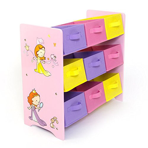 Homestyle4u 1114 Kinderregal Prinzessin , Spielzeugregal 9 farbige Boxen als Ablage aus Stoff , Holz Rosa Pink