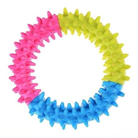Puppy Gummi Kauspielzeug, Thorn Ring Zähne kauen Training Fetch Toys Dental Play Funny Kreis ungiftig 10cm von D & & R (2Stück)