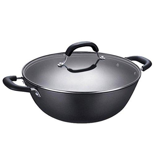 Zwei Ohren Wok keine Beschichtung Gusseisen Pfanne Antihaft-Pfanne Kochen mit Hartglas Abdeckung Durchmesser 36cm schwarz Rollsnownow