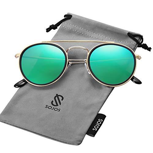 SOJOS Retro Metall Polarisiert Runde Sonnenbrille Damen Herren SUNSET (C8 Gold&Schwarz Rahmen/Grün Linse)