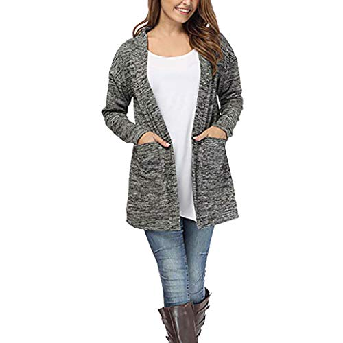 WWricotta Women Long Sleeve Pockets Tops Blouse Loose Long Cardigan Coat Jacket Outwear(Grau,XXL)