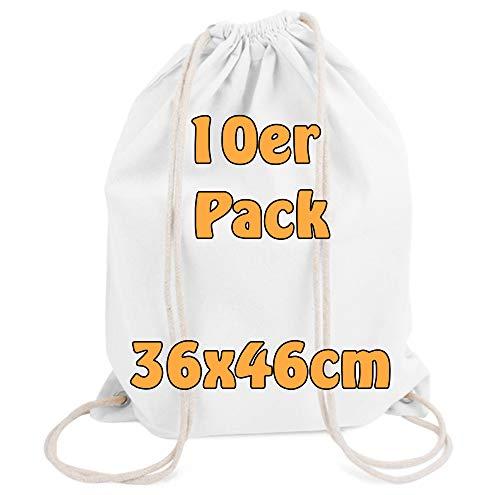 Cottonbagjoe Moderner Turnbeutel Baumwollrucksack Stoffbeutel mit Kordelzug weiß 36x46cm 10 Beutel - Weiße Baumwoll-kordelzug
