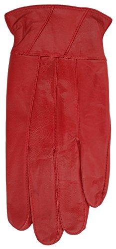 Damen Bunt Weiches Leder Handschuhe von RJM GL146, Dunkelrot, Small / Medium