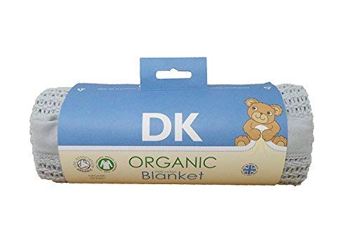 DK Glovesheets 100% coton bio certifié GOTS Cellular Landau/couverture de berceau - Gris avec bordure Coton